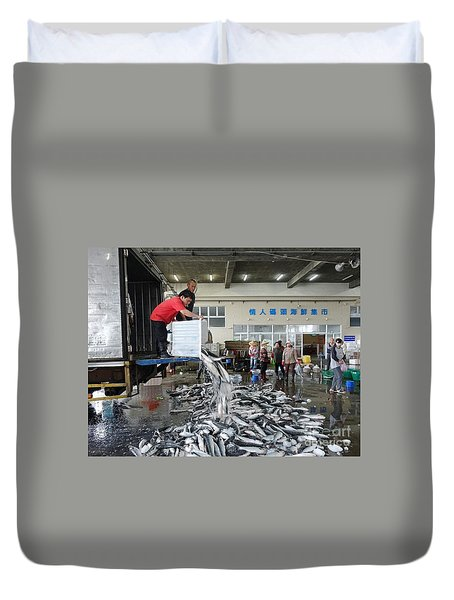 Duvet Cover featuring the photograph Selling Grey Mullet Fish In Taiwan by Yali Shi