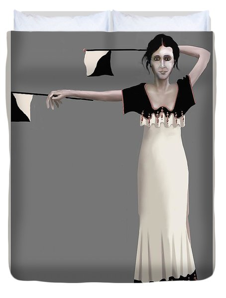 Duvet Cover featuring the digital art Semaphore Girl by Kerry Beverly