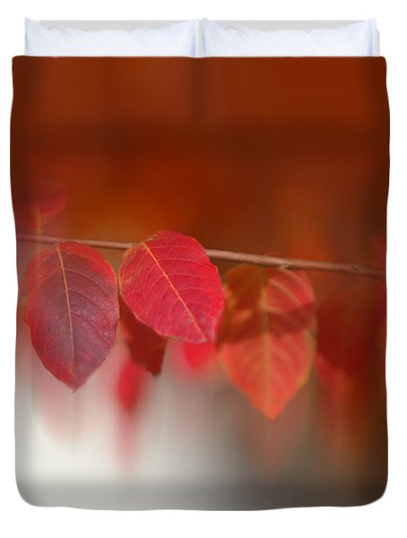 Semi Abstract Red Leaves Duvet Cover
