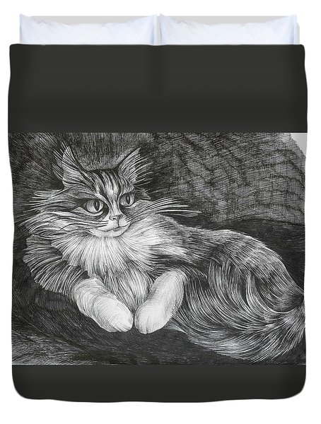 Duvet Cover featuring the drawing Semona by Anna  Duyunova