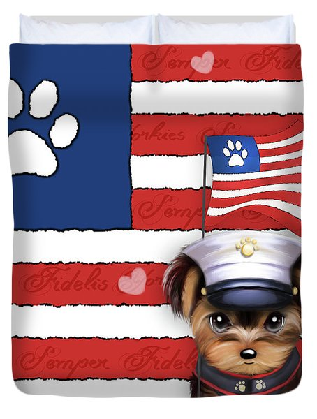 Duvet Cover featuring the painting Semper Fidelis Yorkie Marine by Catia Lee