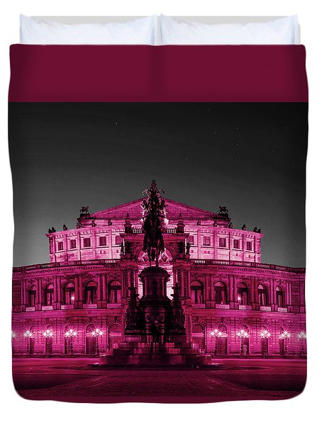 Semperoper Opera House Dresden In Selective Color Duvet Cover by Suzanne Powers
