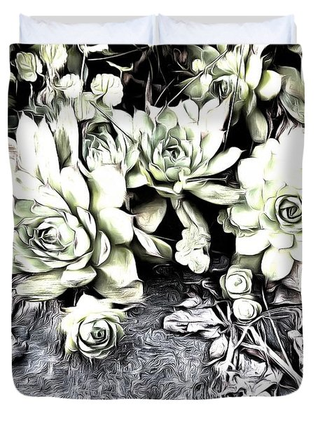 Duvet Cover featuring the photograph Sempervivum - Ebony And Ivory  by Janine Riley