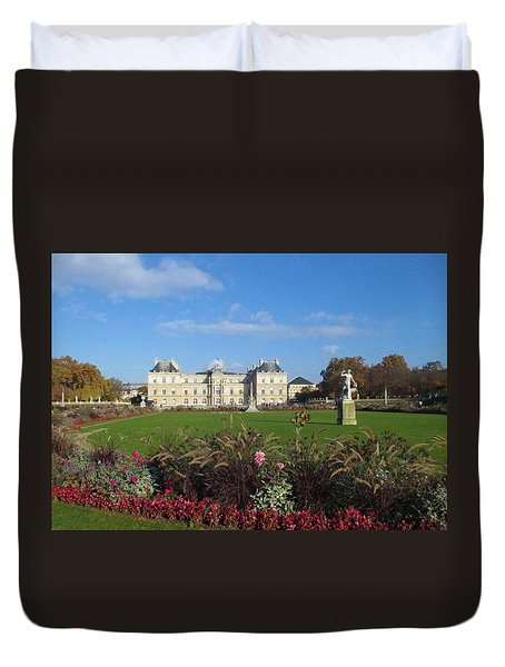 Duvet Cover featuring the photograph Senate From Jardin Du Luxembourg by Christopher Kirby