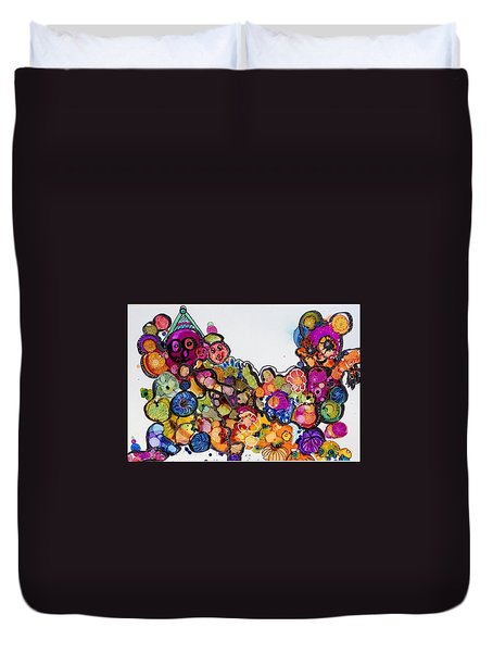 Send In The Clowns Duvet Cover by Suzanne Canner
