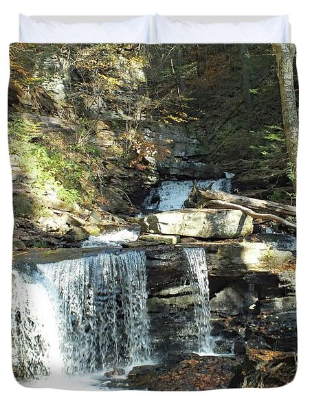 Delaware And Seneca Falls 3 - Ricketts Glen Duvet Cover