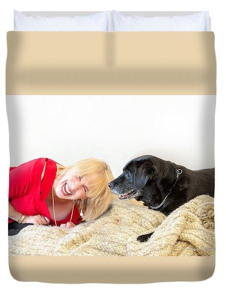 Senior Dog And Owner Duvet Cover