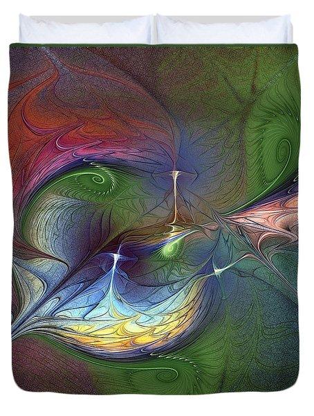 Duvet Cover featuring the digital art Sentimental Journey by Karin Kuhlmann