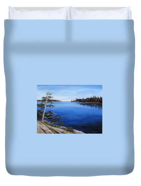 Duvet Cover featuring the painting Sentinel by Jan Byington