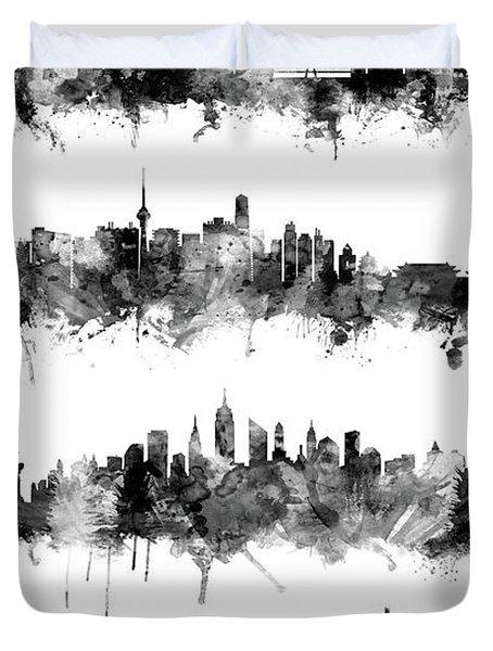 Seoul, Beijing, New York And London Custom Skyline Collection Duvet Cover
