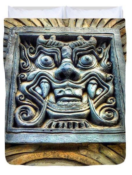 Seoul Mask Tile Duvet Cover by Michael Garyet