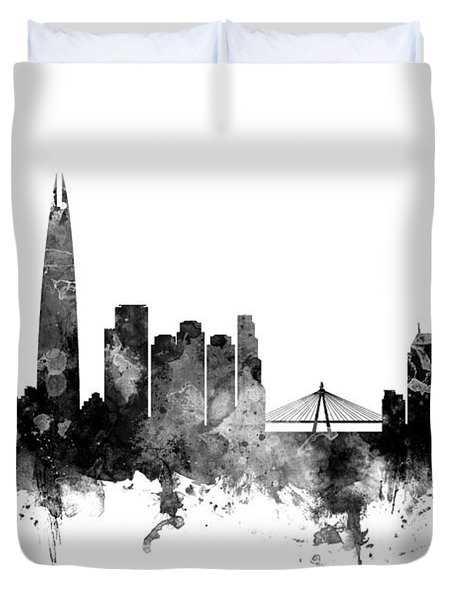 Seoul Skyline South Korea Duvet Cover