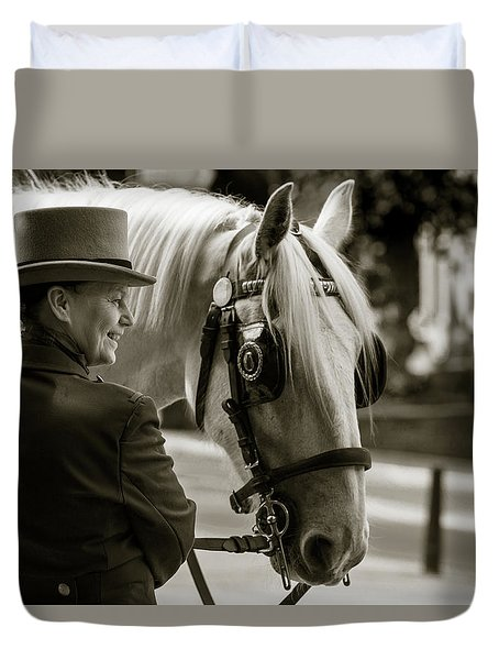 Sepia Carriage Horse With Handler Duvet Cover
