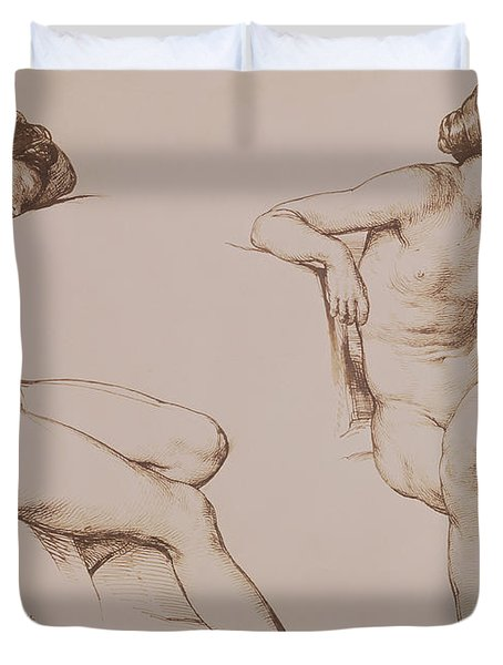 Sepia Drawing Of Nude Woman Duvet Cover by William Mulready