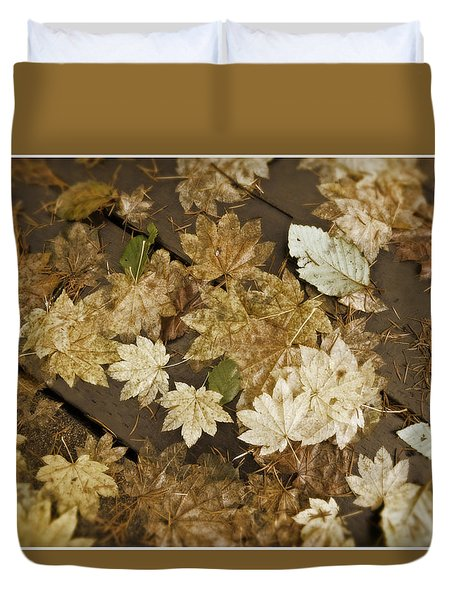 Sepia Leaves Duvet Cover