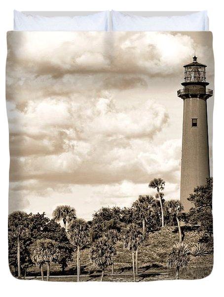 Sepia Lighthouse Duvet Cover by Rudy Umans