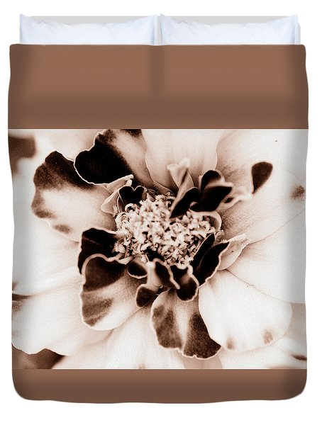 Sepia Marigold Duvet Cover by Christine Ricker Brandt