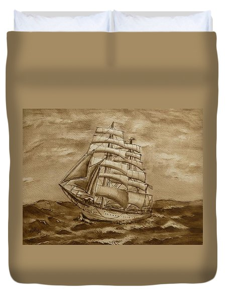 Duvet Cover featuring the painting Sepia Oceans Fury by Kelly Mills