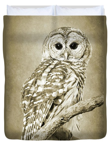 Sepia Owl Duvet Cover
