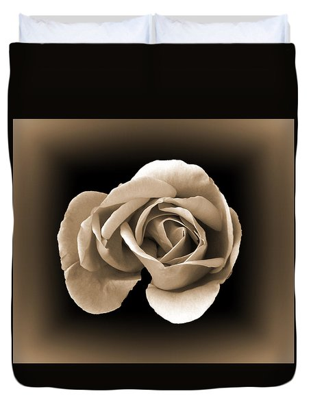 Duvet Cover featuring the photograph Sepia Rose by Lynn Bolt