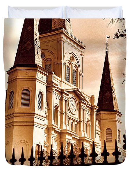 Sepia St. Louis Cathedral Duvet Cover
