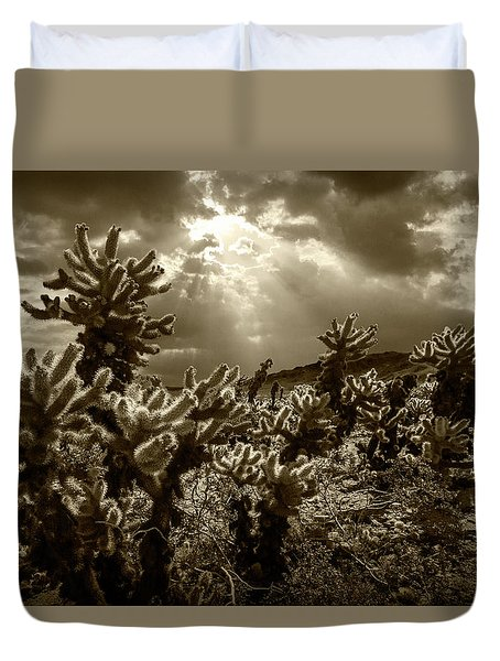 Duvet Cover featuring the photograph Sepia Tone Of Cholla Cactus Garden Bathed In Sunlight by Randall Nyhof