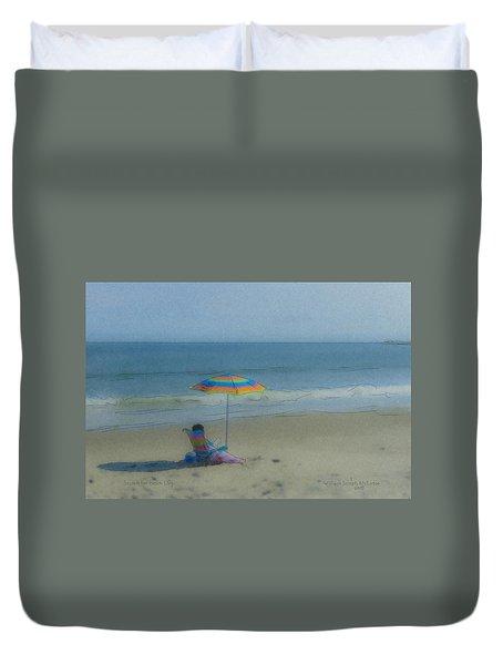 September Beach Reader Duvet Cover