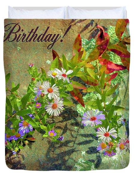 September Birthday Aster Duvet Cover by Kristin Elmquist