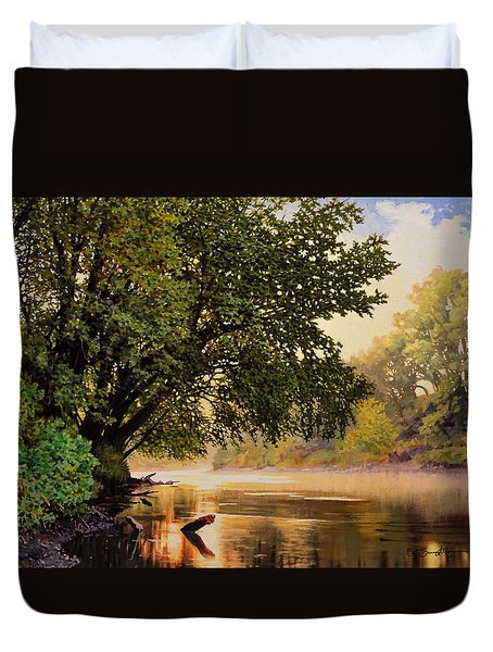 September Dawn, Little Sioux River - Studio Painting Duvet Cover