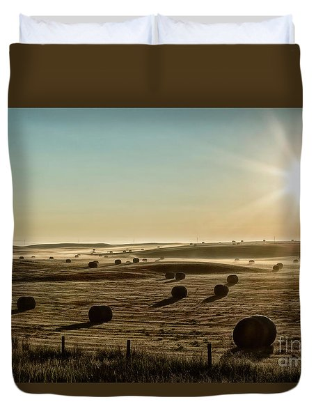 Duvet Cover featuring the photograph September Hay by Brad Allen Fine Art