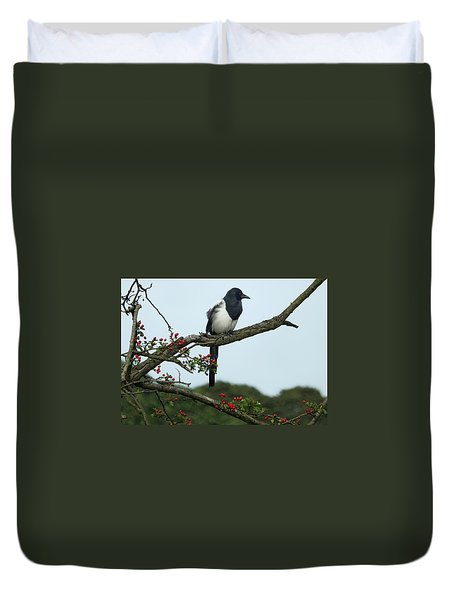 September Magpie Duvet Cover by Philip Openshaw