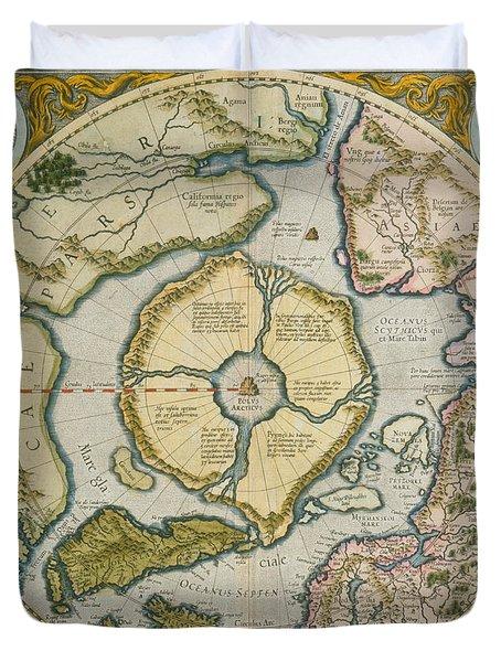 Septentrionalium Terrarum Descriptio Duvet Cover by Gerardus Mercator