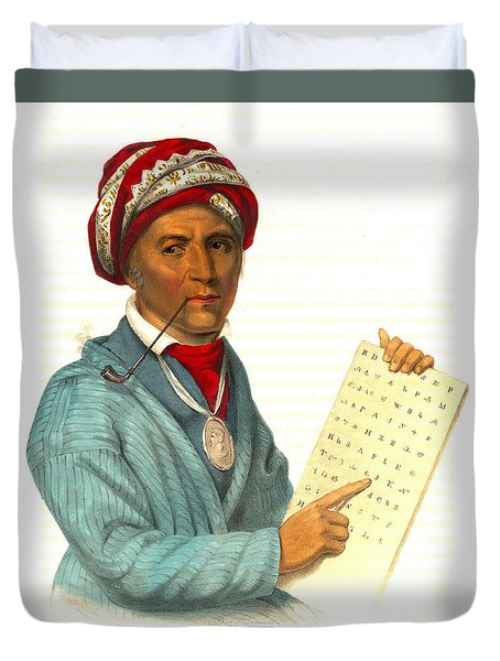 Duvet Cover featuring the photograph Sequoyah 1838 by Padre Art