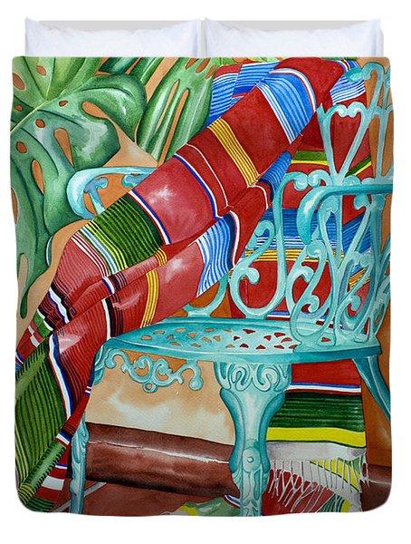 Serape On Wrought Iron Chair II Duvet Cover