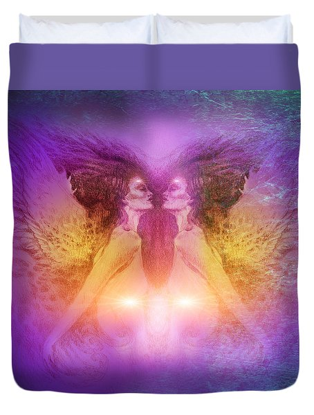 Duvet Cover featuring the painting Seraphim by Ragen Mendenhall