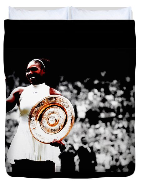 Serena 2016 Wimbledon Victory Duvet Cover by Brian Reaves