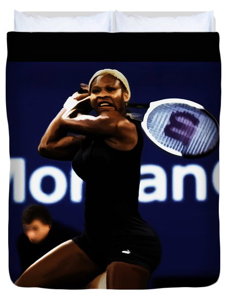 Serena Williams Catsuit 03b Duvet Cover by Brian Reaves