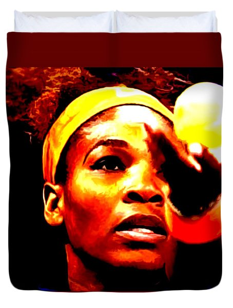 Serena Williams First Round Duvet Cover by Brian Reaves