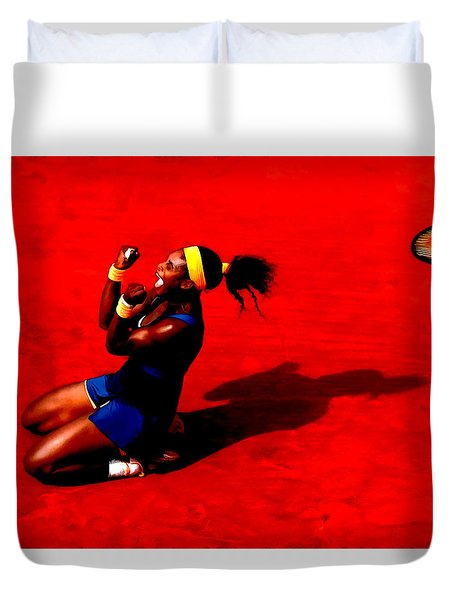 Serena Williams French Open Victory Duvet Cover by Brian Reaves