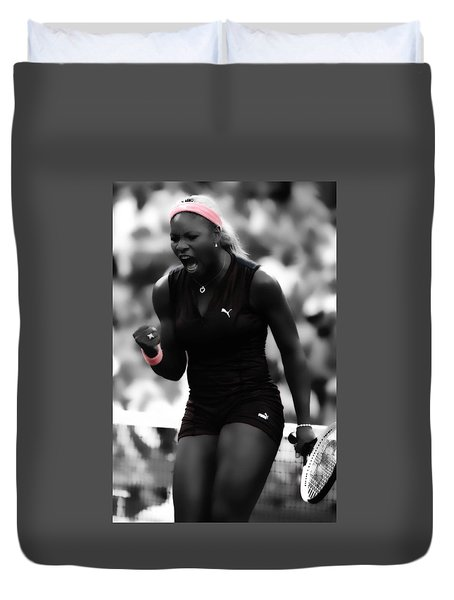 Duvet Cover featuring the digital art Serena Williams On Fire by Brian Reaves