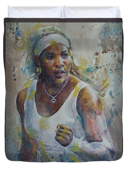 Serena Williams - Portrait 5 Duvet Cover by Baresh Kebar - Kibar