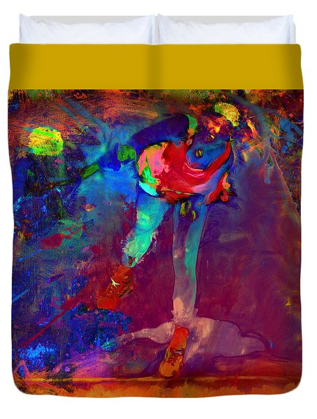 Serena Williams Return Explosion Duvet Cover by Brian Reaves