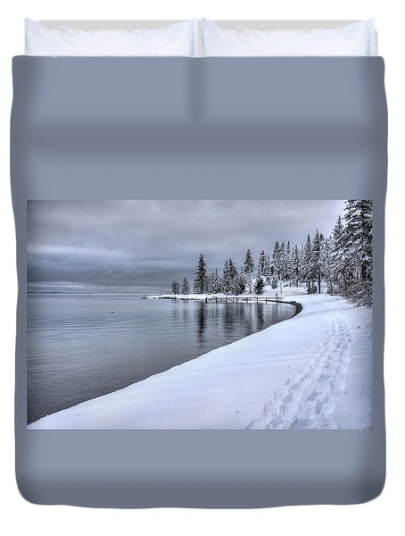 Serene Beauty Of Lake Tahoe Winter Duvet Cover