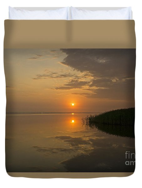 Duvet Cover featuring the photograph Serene Evening by Inge Riis McDonald