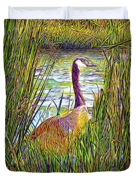 Serene Goose Dreams Duvet Cover by Joel Bruce Wallach