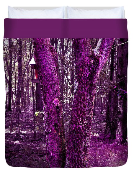 Duvet Cover featuring the photograph Serene In Purple by Michelle Audas