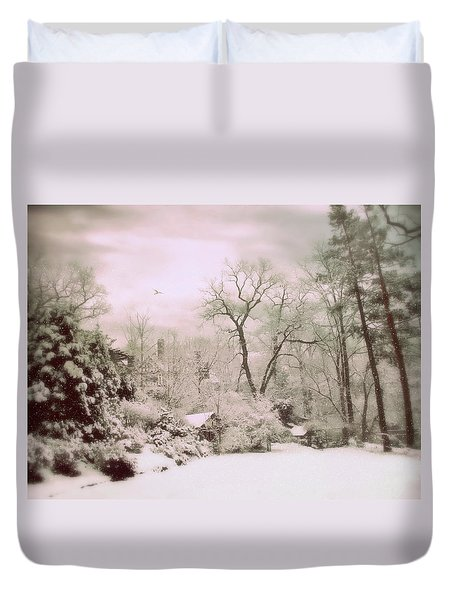 Duvet Cover featuring the photograph Serene In Snow by Jessica Jenney