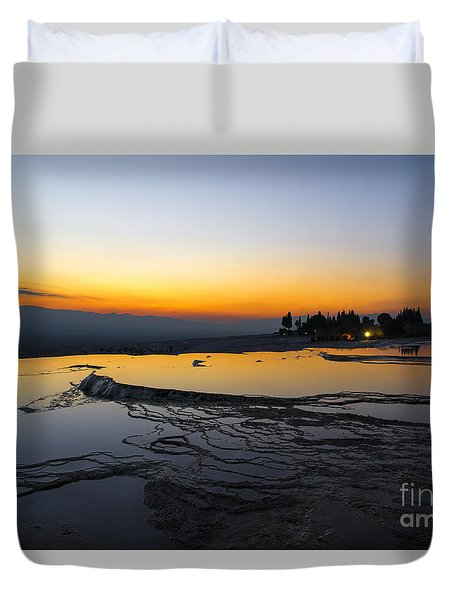 Serene Night In Pammukale Duvet Cover by Yuri Santin