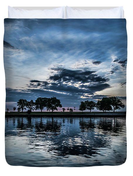 Serene Summer Water And Clouds Duvet Cover