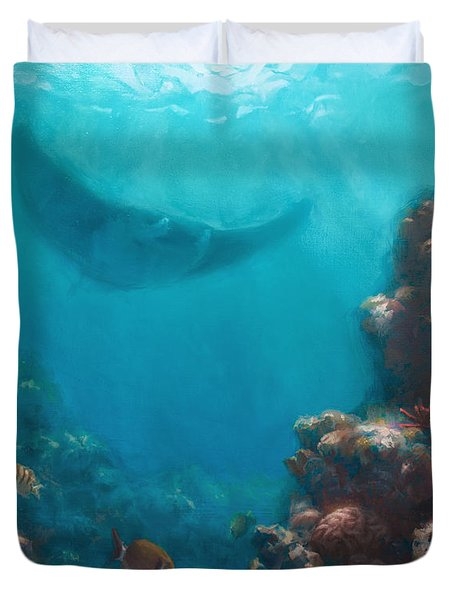 Serenity - Hawaiian Underwater Reef And Manta Ray Duvet Cover